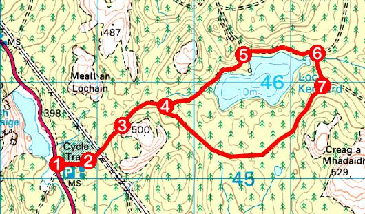 Take a Hike 112 - May 14, 2016 - Loch Kennard, Aberfeldy, Perth & Kinross OS map extract