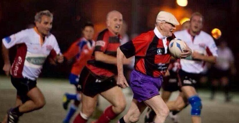 Mr Urquhart in the purple shorts pictured during the Italian match which made headlines across the world.