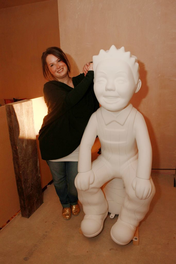 "Joanne MacFadyen with ""Oor Wullie"" statue waiting to be painted in the Ignite Dundee pop-up shop at the Old Flour Mill, Exchange Court off Exchange Street, Dundee."