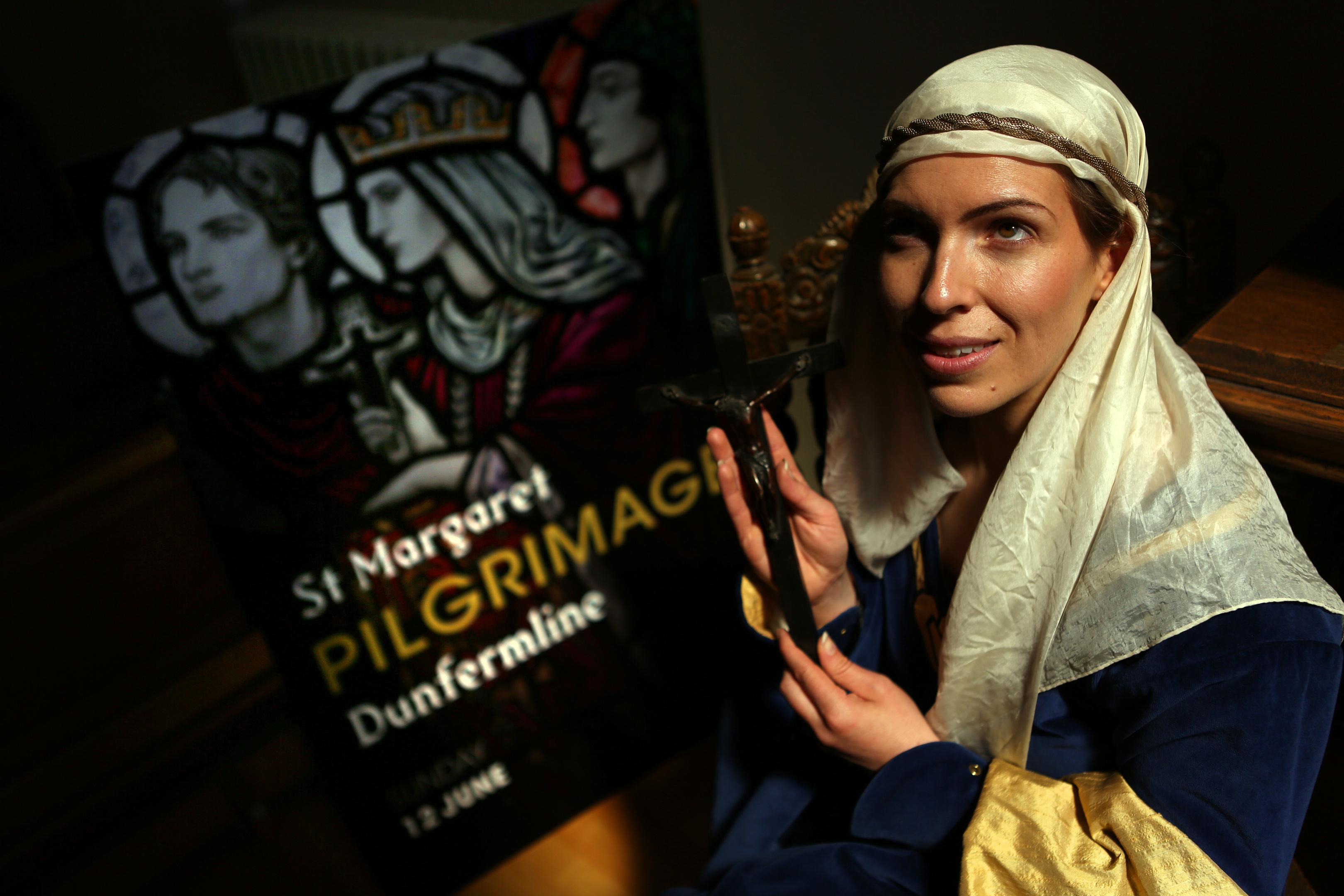 Katie Milne as St Margaret promoting the summer pilgrimage.