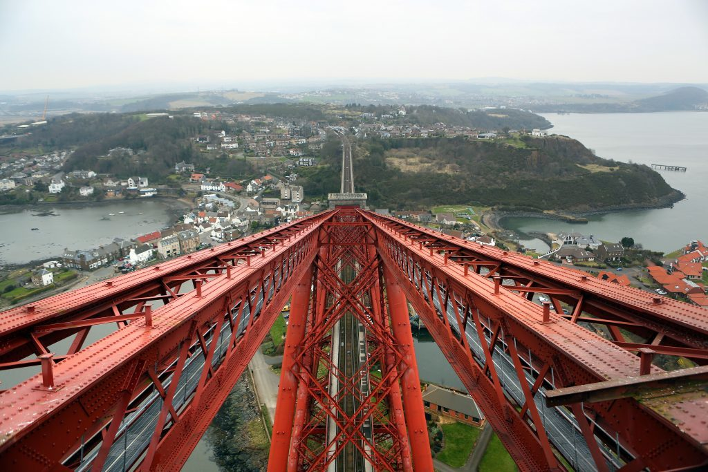 View from the South Tower of the Forth Rail Bridge looking north