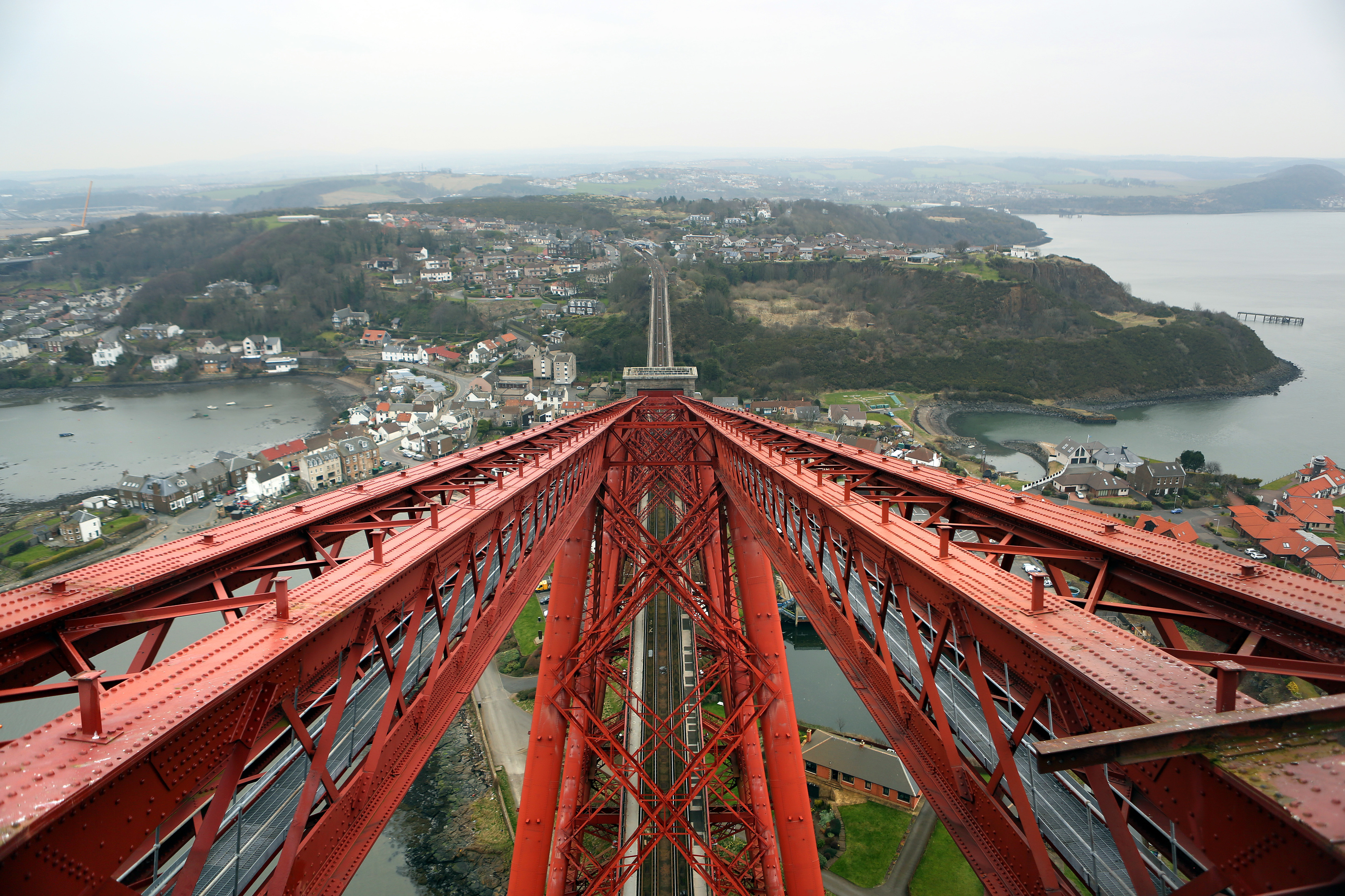 View from the South Tower of the Forth Rail Bridge looking north.