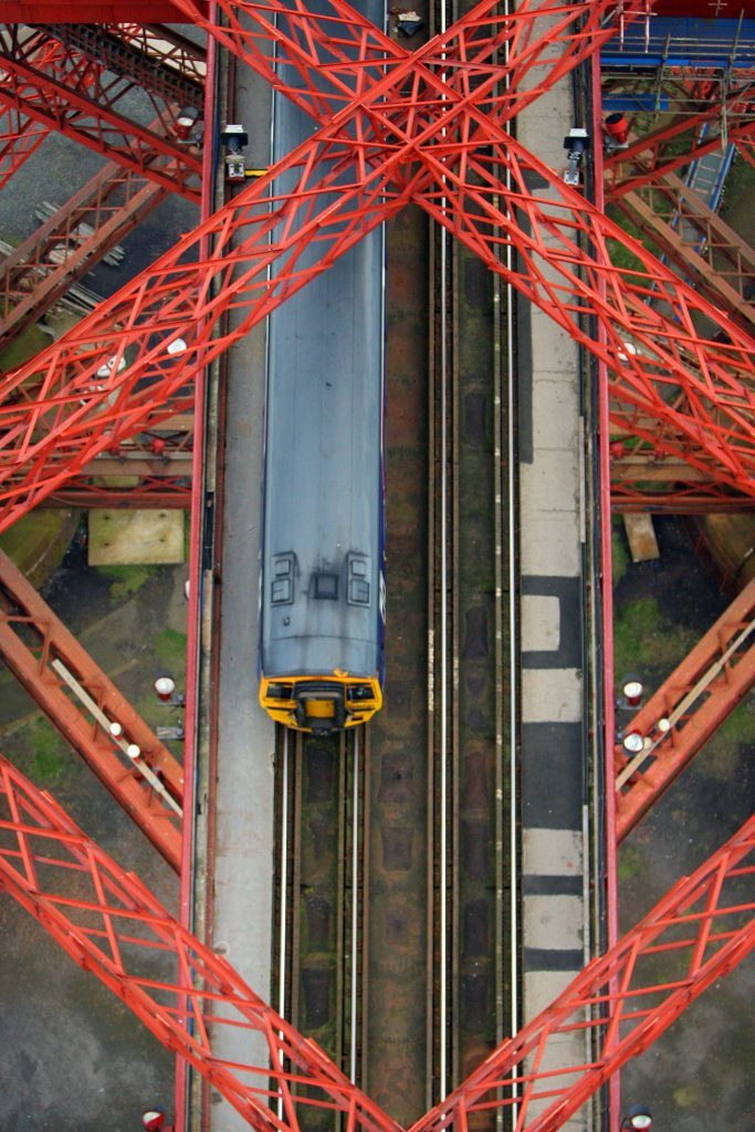 View from the South Tower of the Forth Rail Bridge looking down to the rail tracks