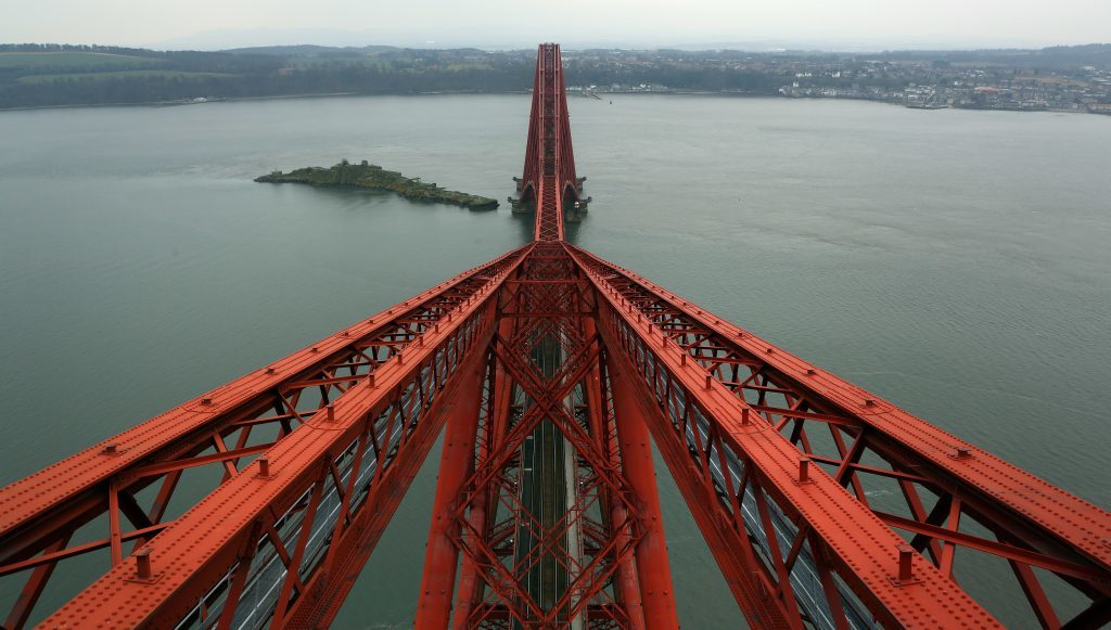 View from the North Tower of the Forth Rail Bridge looking south