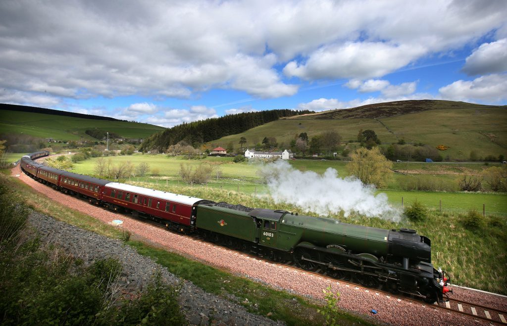 Flying Scotsman makes its way along the new Borders rail route.