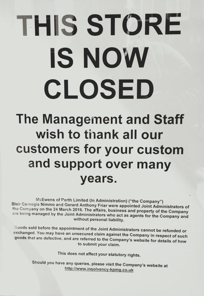 The sign posted at McEwens door.