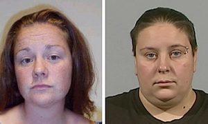 Police custody photos of Rachel Fee (left) and her partner Nyomi Fee.