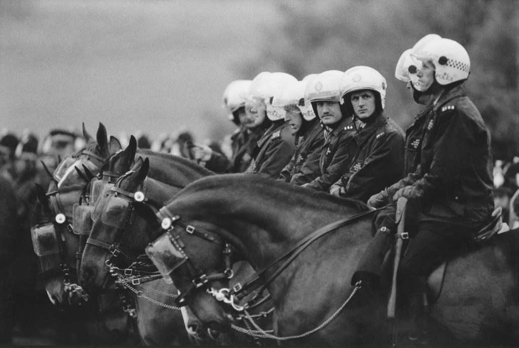 Mounted police at Orgreave Colliery, Yorkshire, during the 1984 miners strike