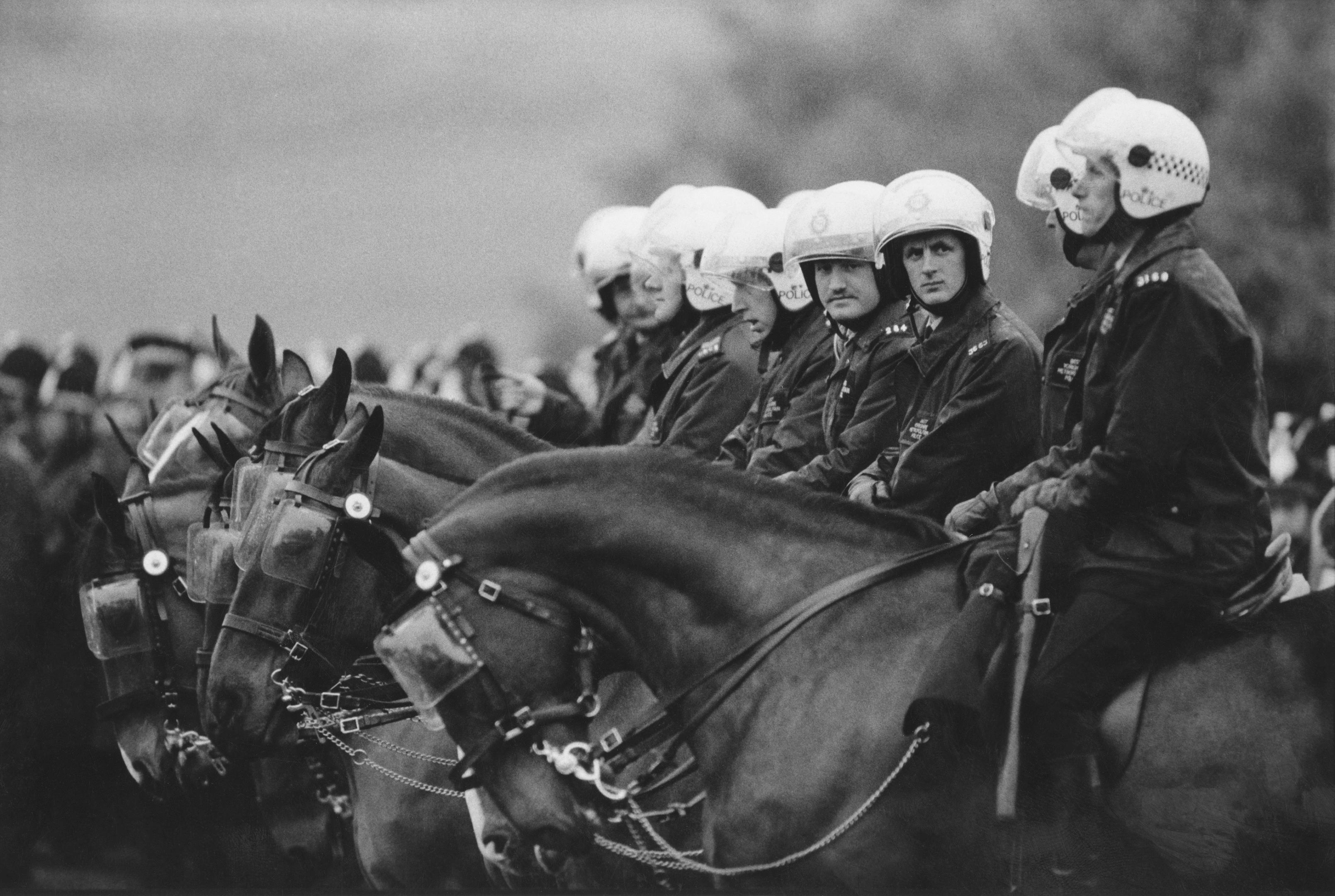 Mounted police during a 1984 miners' strike