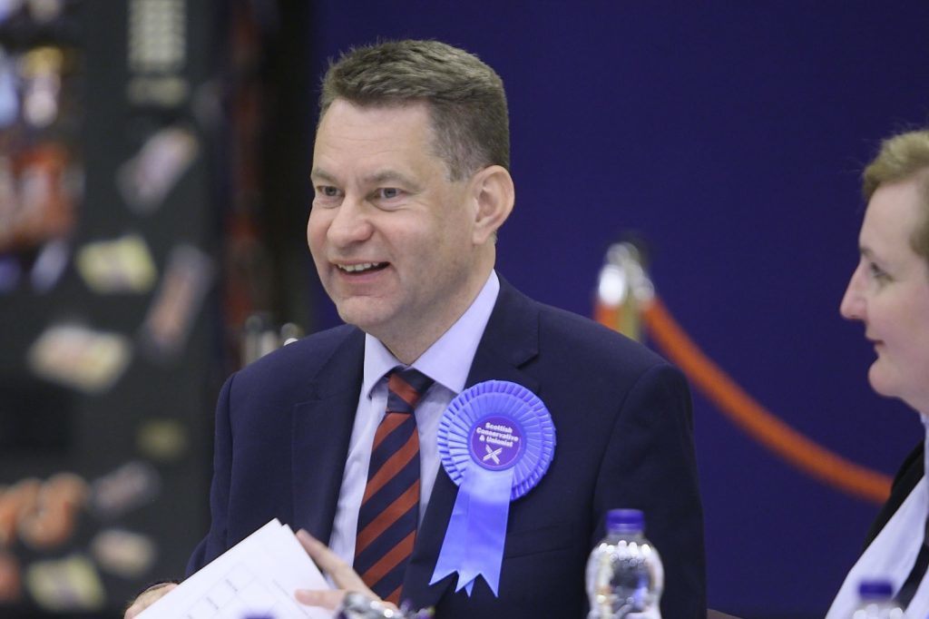 Murdo Fraser at the count in Perth.