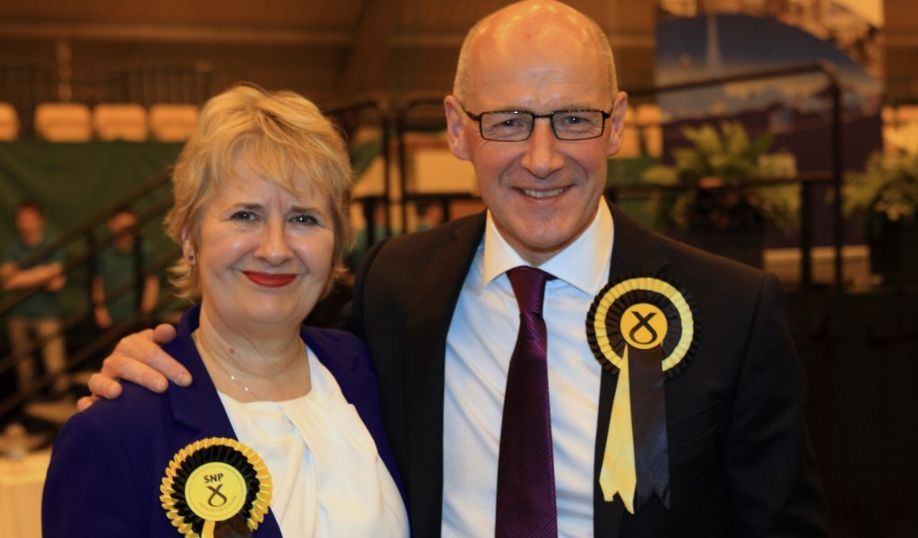 John Swinney and Roseanna Cunningham after the declaration in Perth.