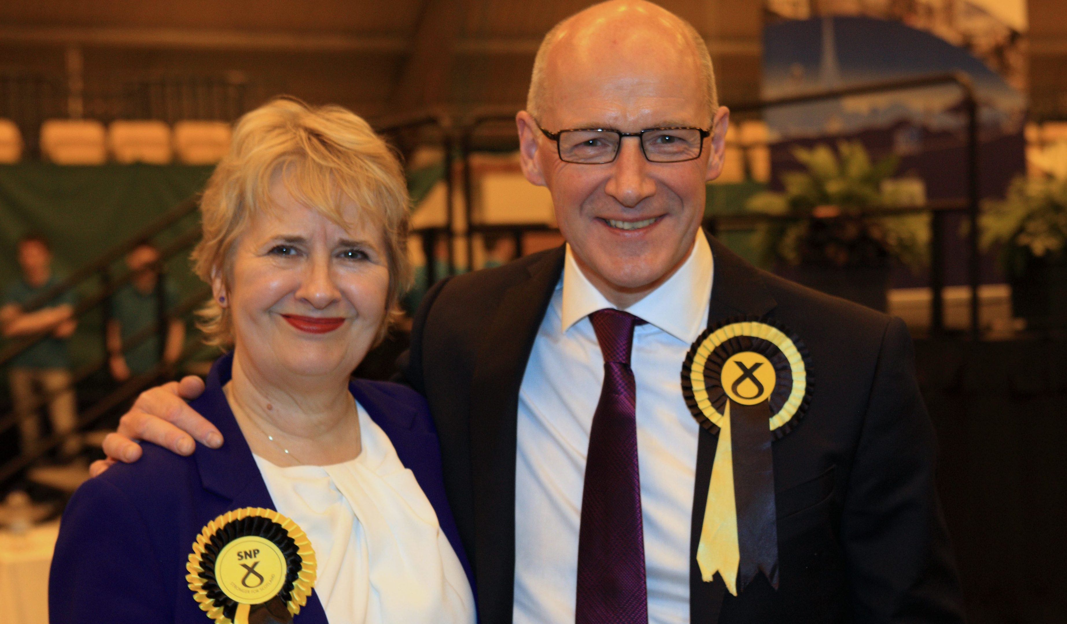 John Swinney and Roseanna Cunningham after the declaration in Perth.