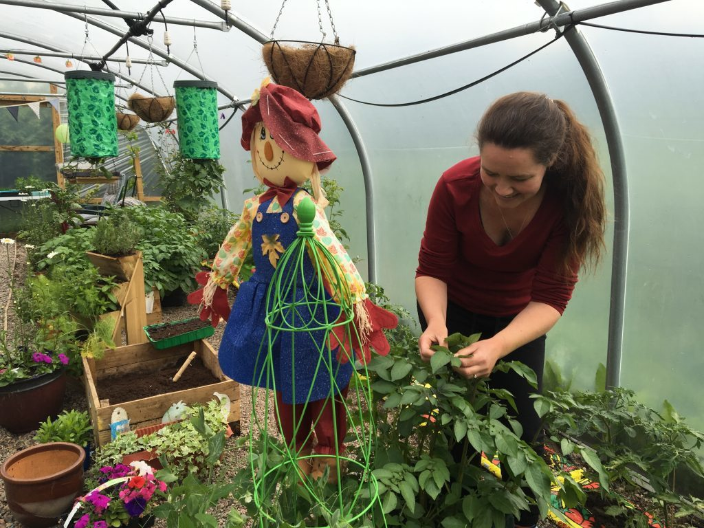 Karen Morrison in the poly tunnel where children can plant seeds