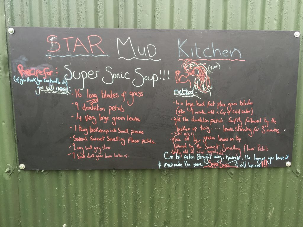 A 'Mud kitchen' where children are free to make a mess