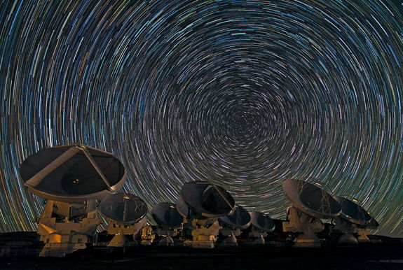 A time lapse photograph taken at the ALMA space telescopes in Chile