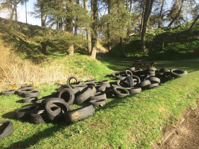 The tyres dumped near the Craigmead car park.