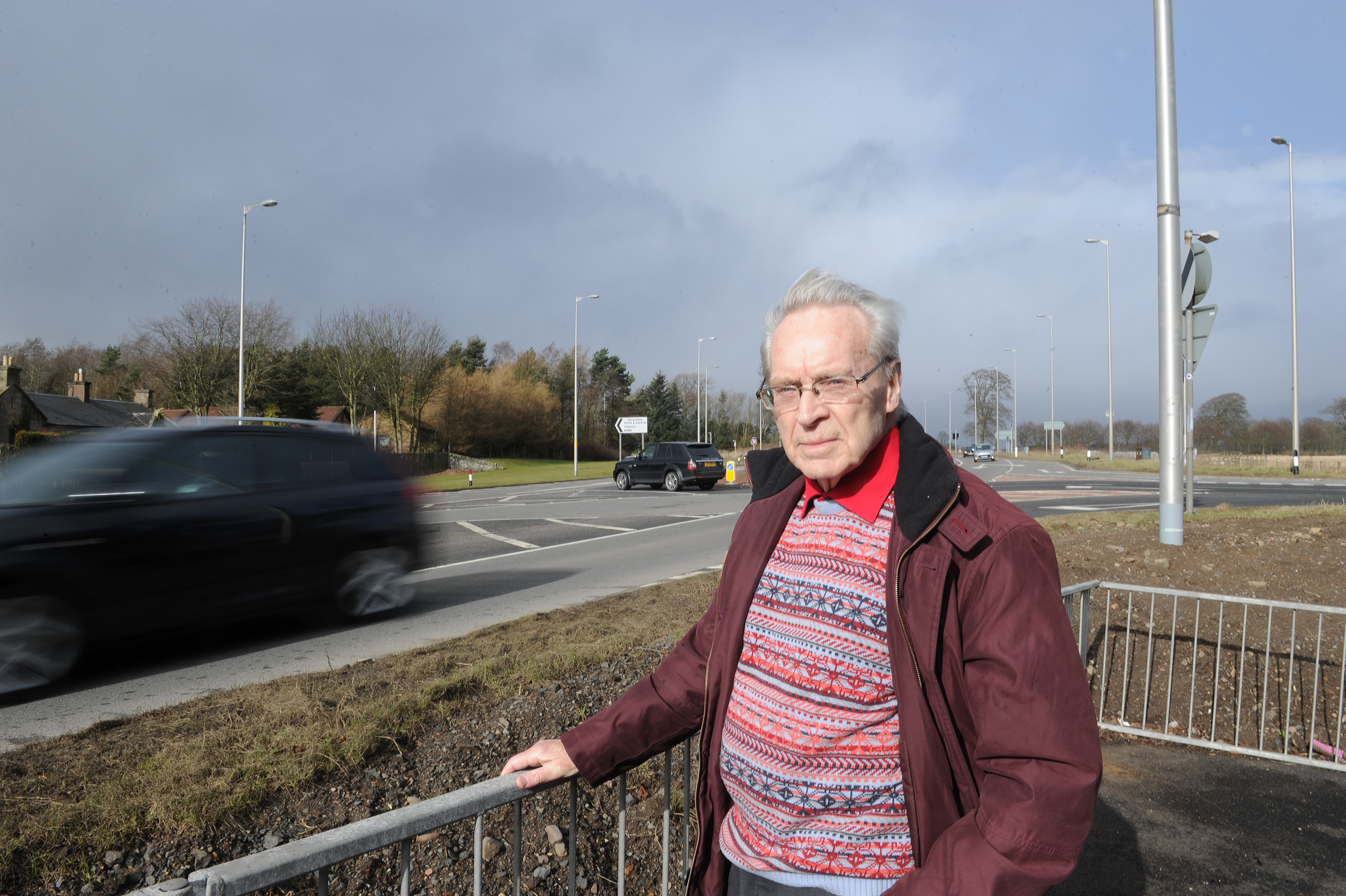 Ron Page beside the Balfarg junction on the A92 near Glenrothes.