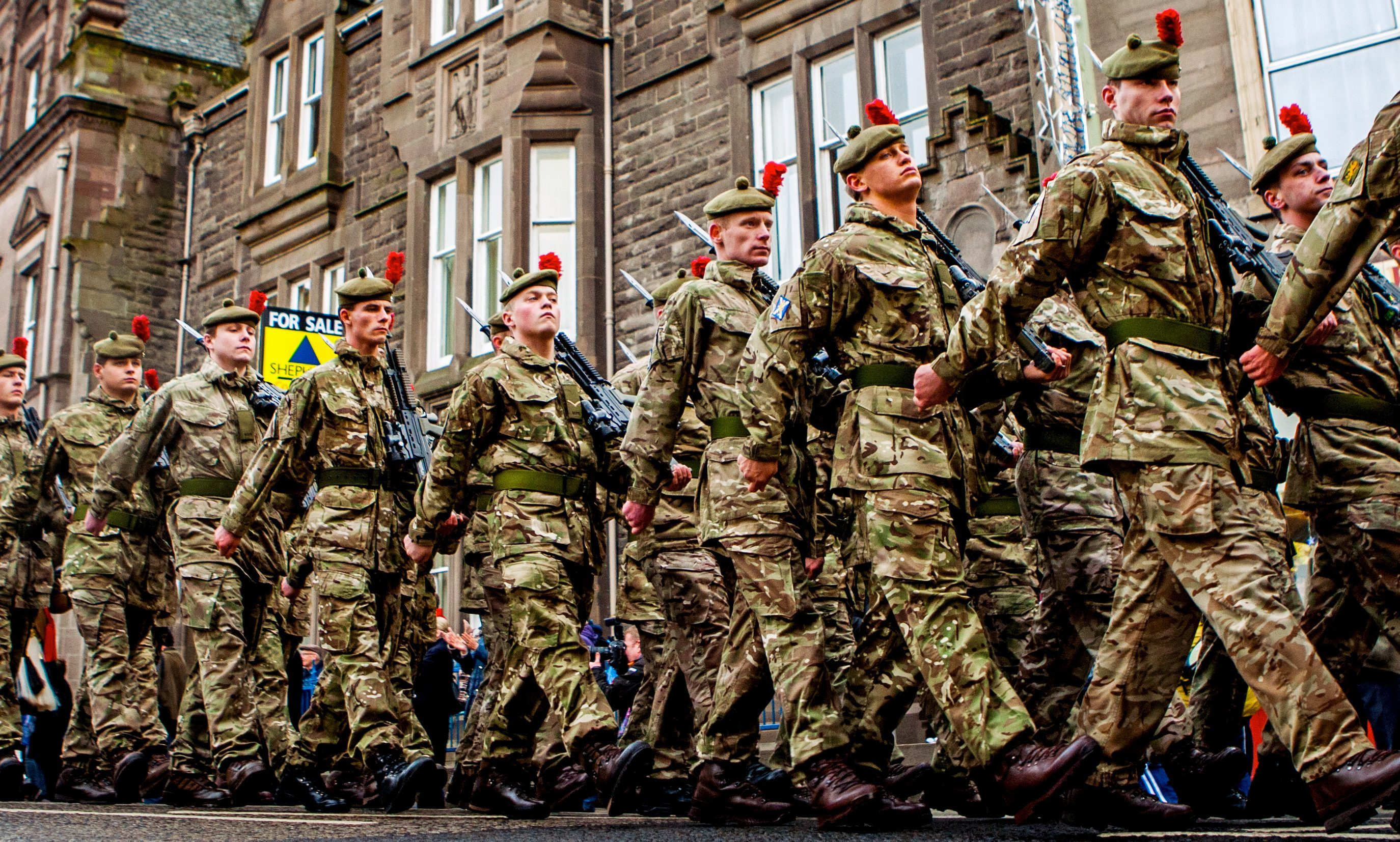 Freedom parade for The Black Watch 3rd Battalion The Royal Regiment of Scotland (3 Scots) in Forfar.