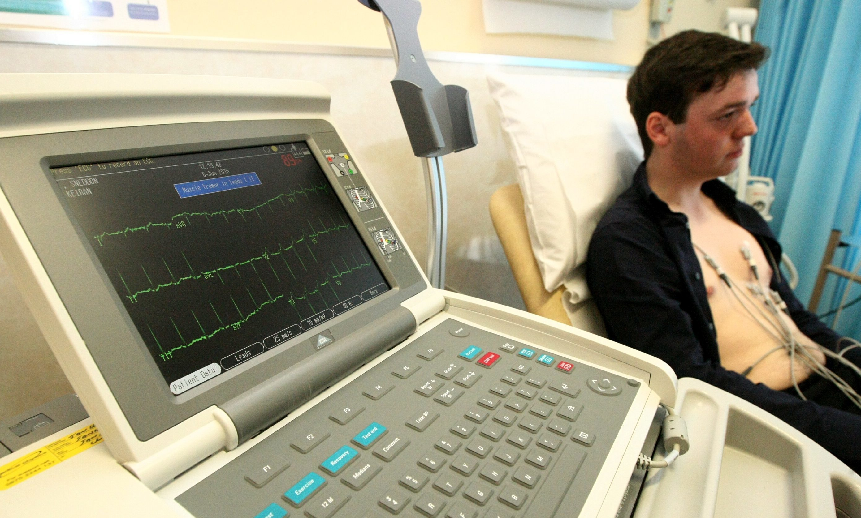Ciaran Sneddon is hooked up to the ECG monitor to see the effects of consuming energy drinks.