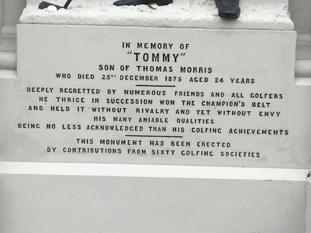 The inscription on the Tommy Morris memorial