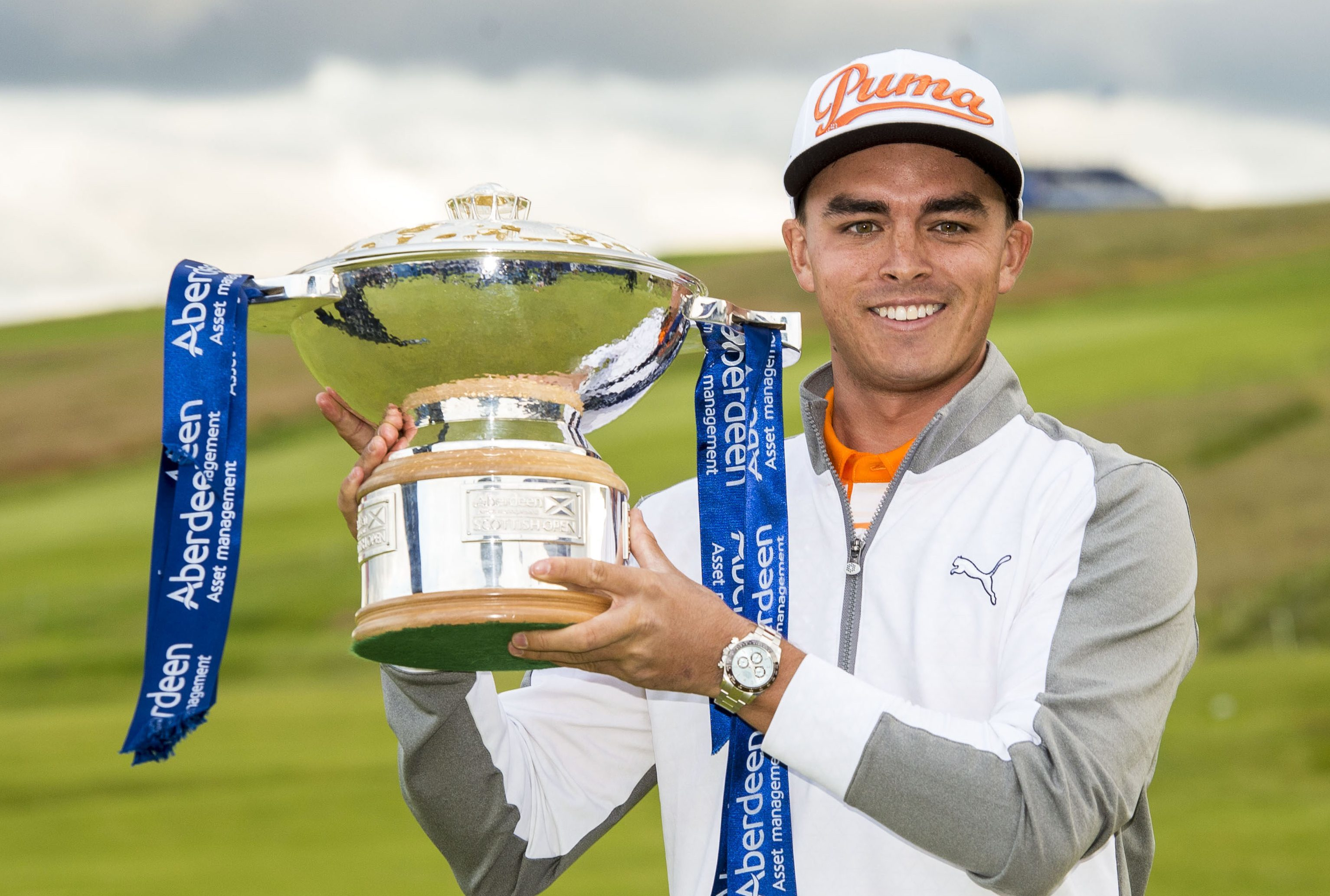 Rickie Fowler celebrates as he wins the Aberdeen Asset Management Scottish Open last year.