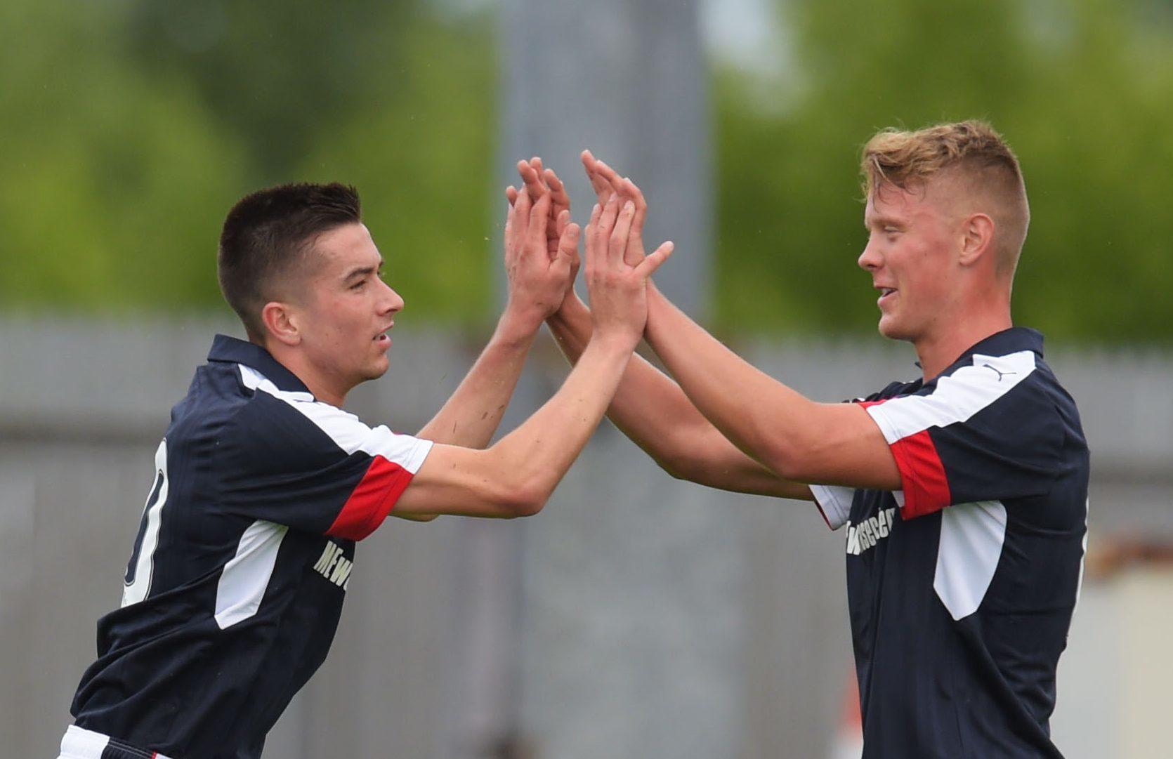 Mark O'Hara (right) celebrates the opening goal with Cammy Kerr.