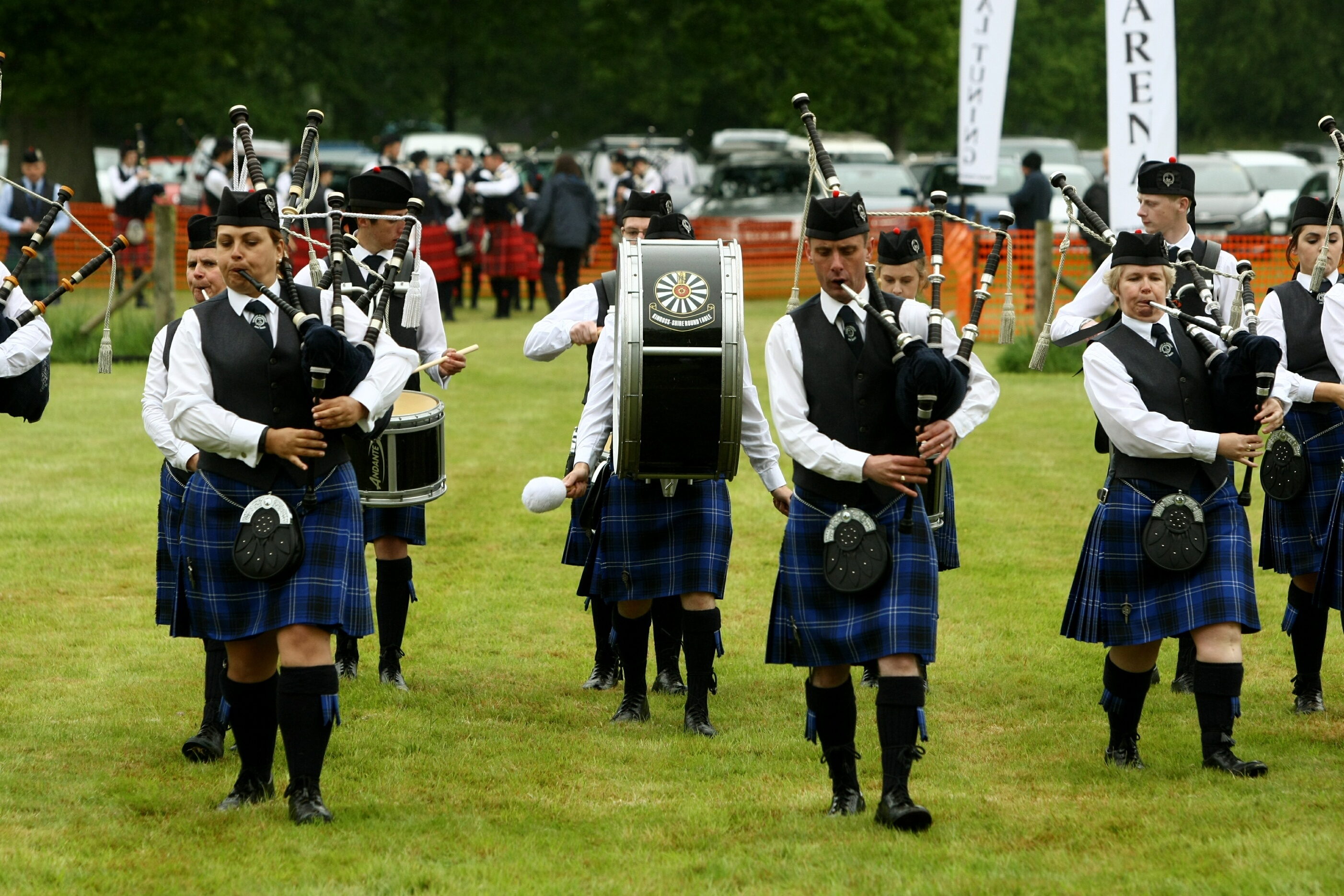 The Kinross & District Pipe Band competing in the Pipe Band Competition at the Strathmore Highland Games.