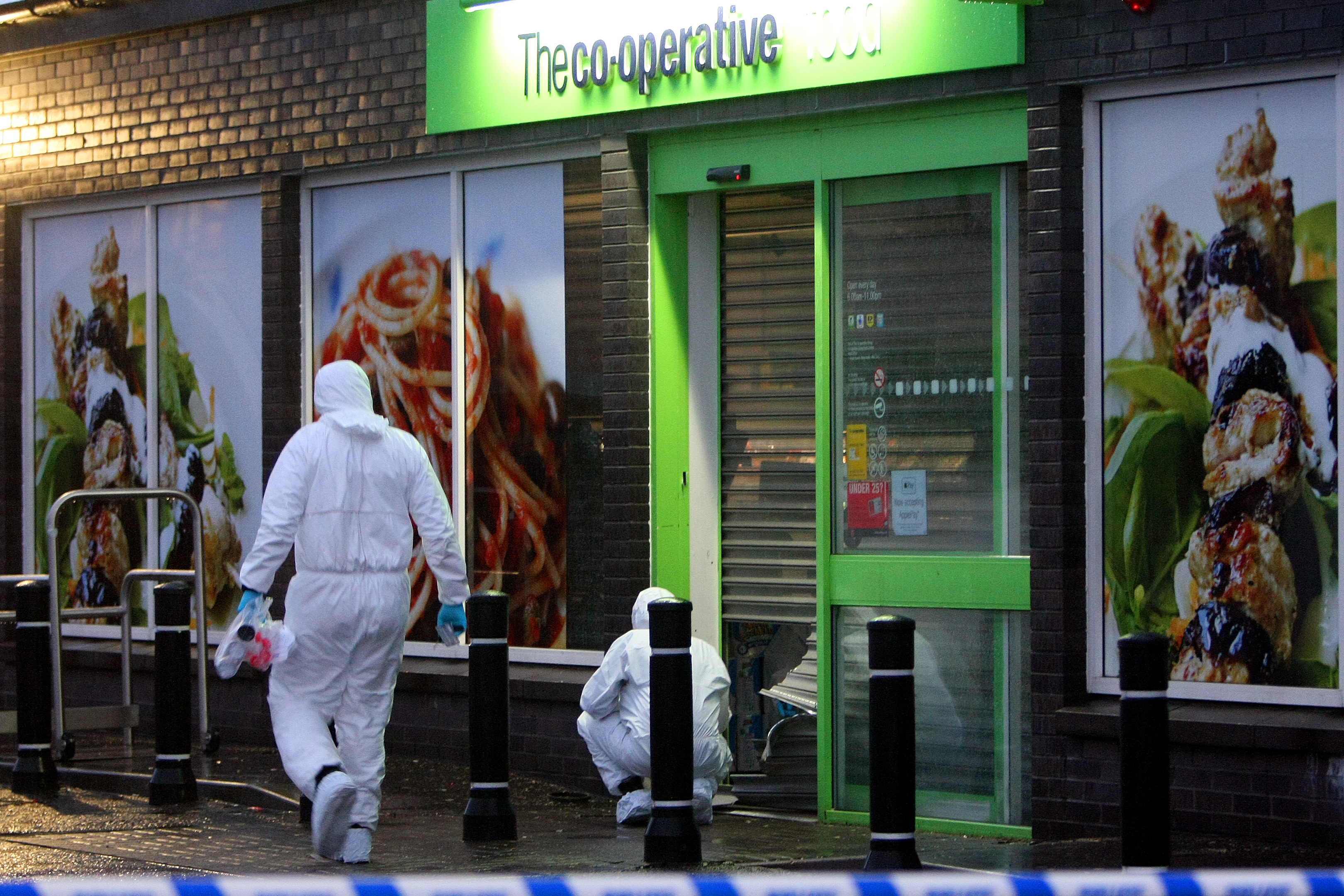 Scene of Crime Officers carrying out investigations Kris Miller, Courier, 12/02/16. Picture at the Co-op store in Carnoustie.