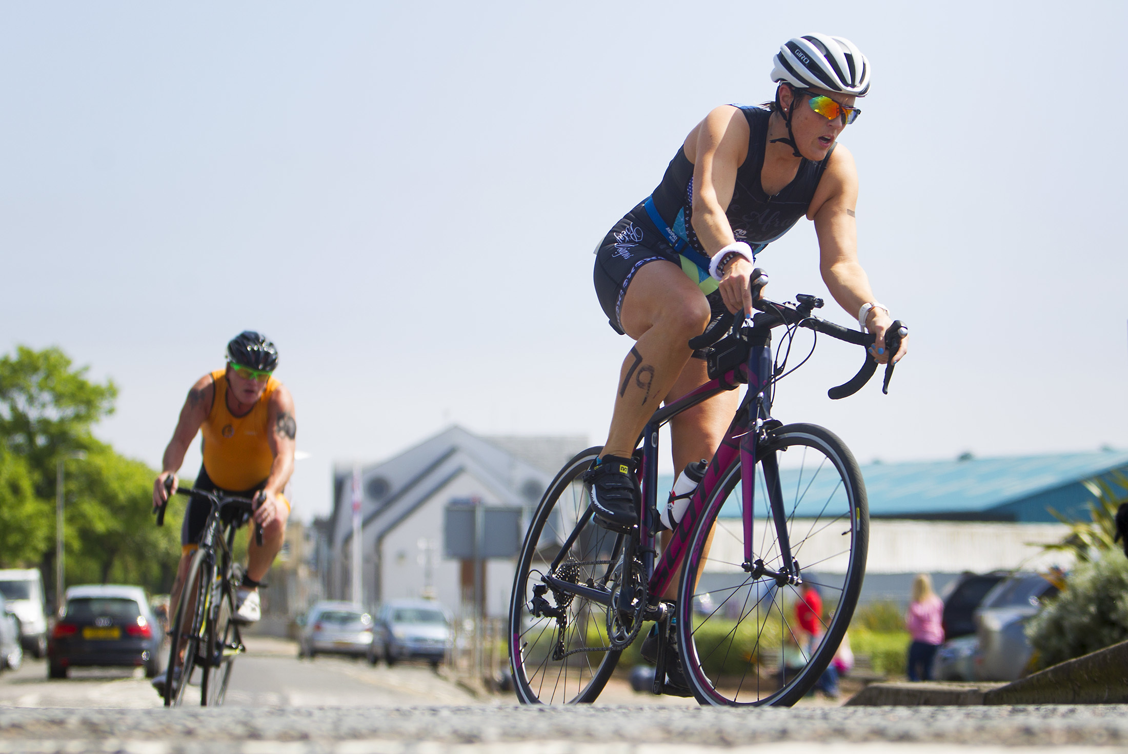 Montrose triathlon competitors cycling out of Montrose and heading for Ferryden.
