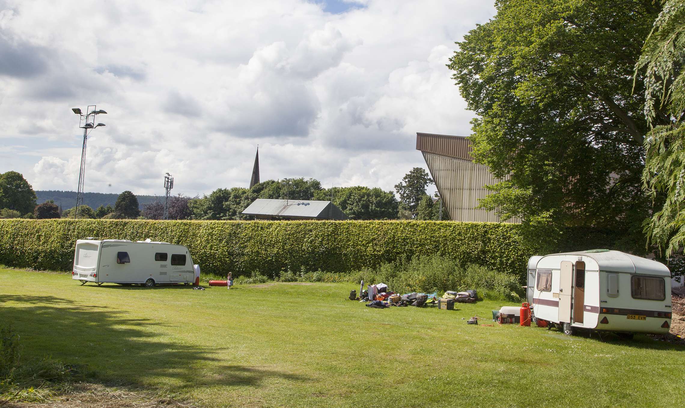Travellers have pitched up next to Glebe Park ahead of Brechin's friendly with Aberdeen.
