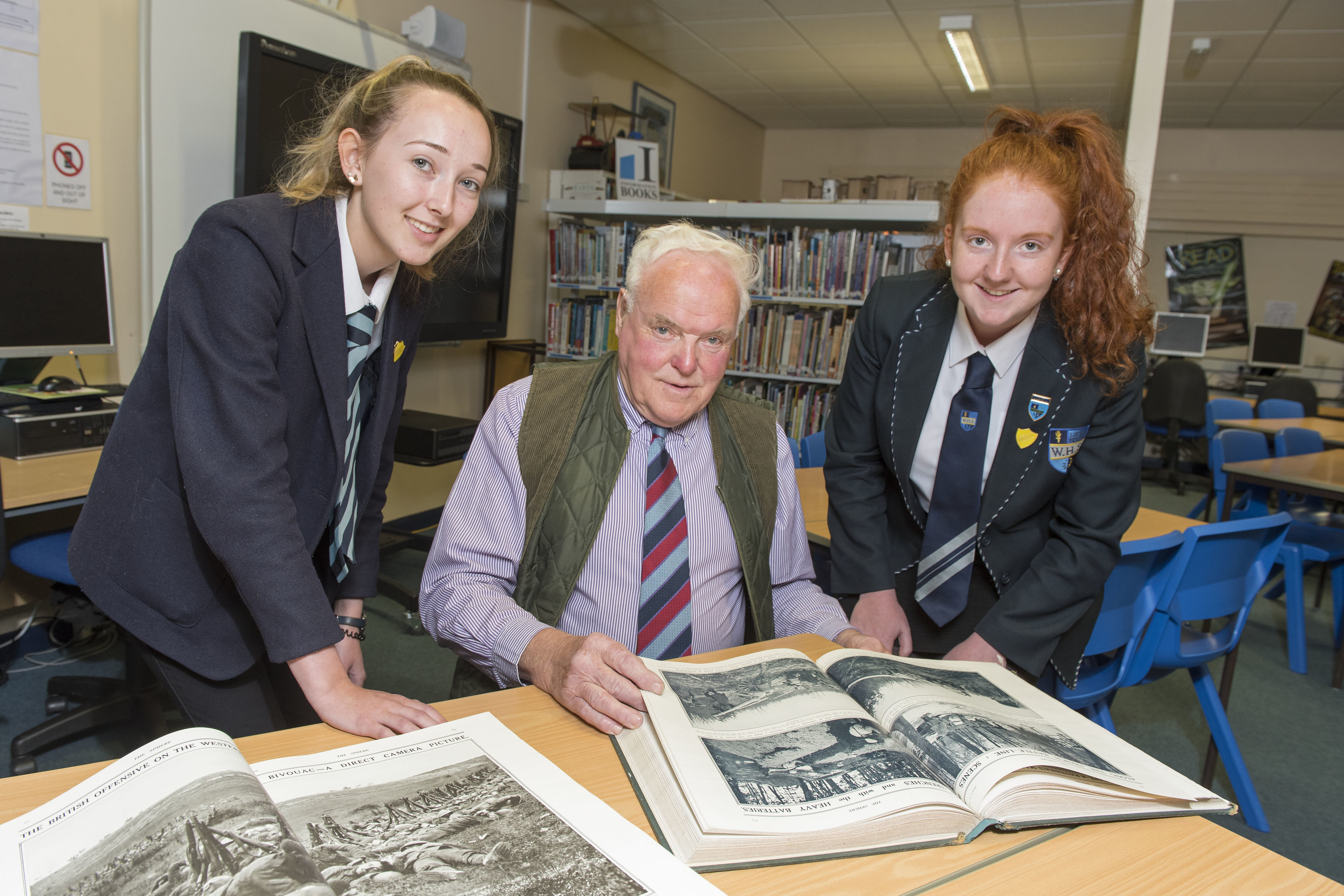 Mr Laird with S6 pupils Robyn Laird and Amber Ogg.