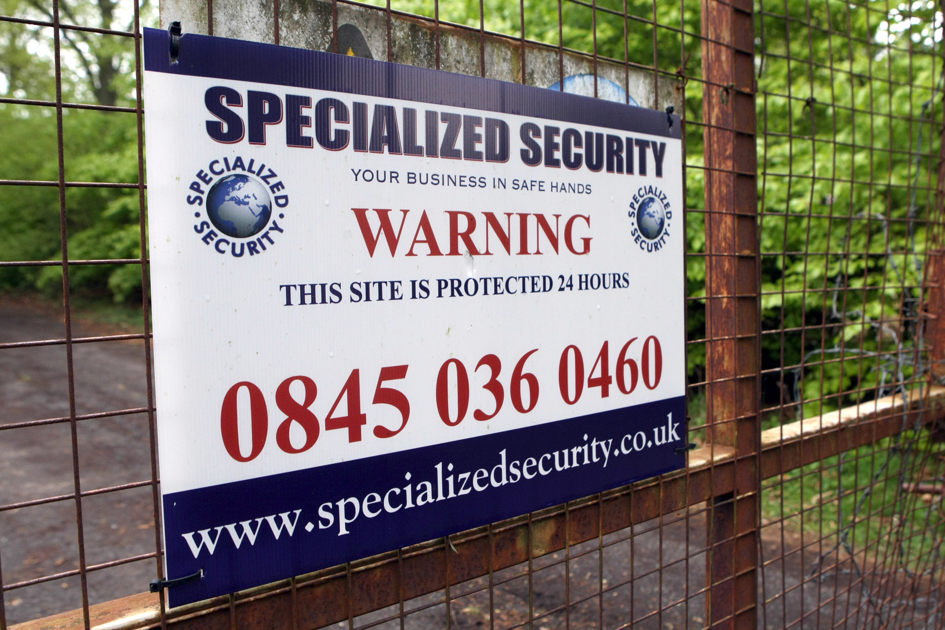 A security placard at Strathmartine Hospital, one of dozens of derelict buildings in and around Dundee.