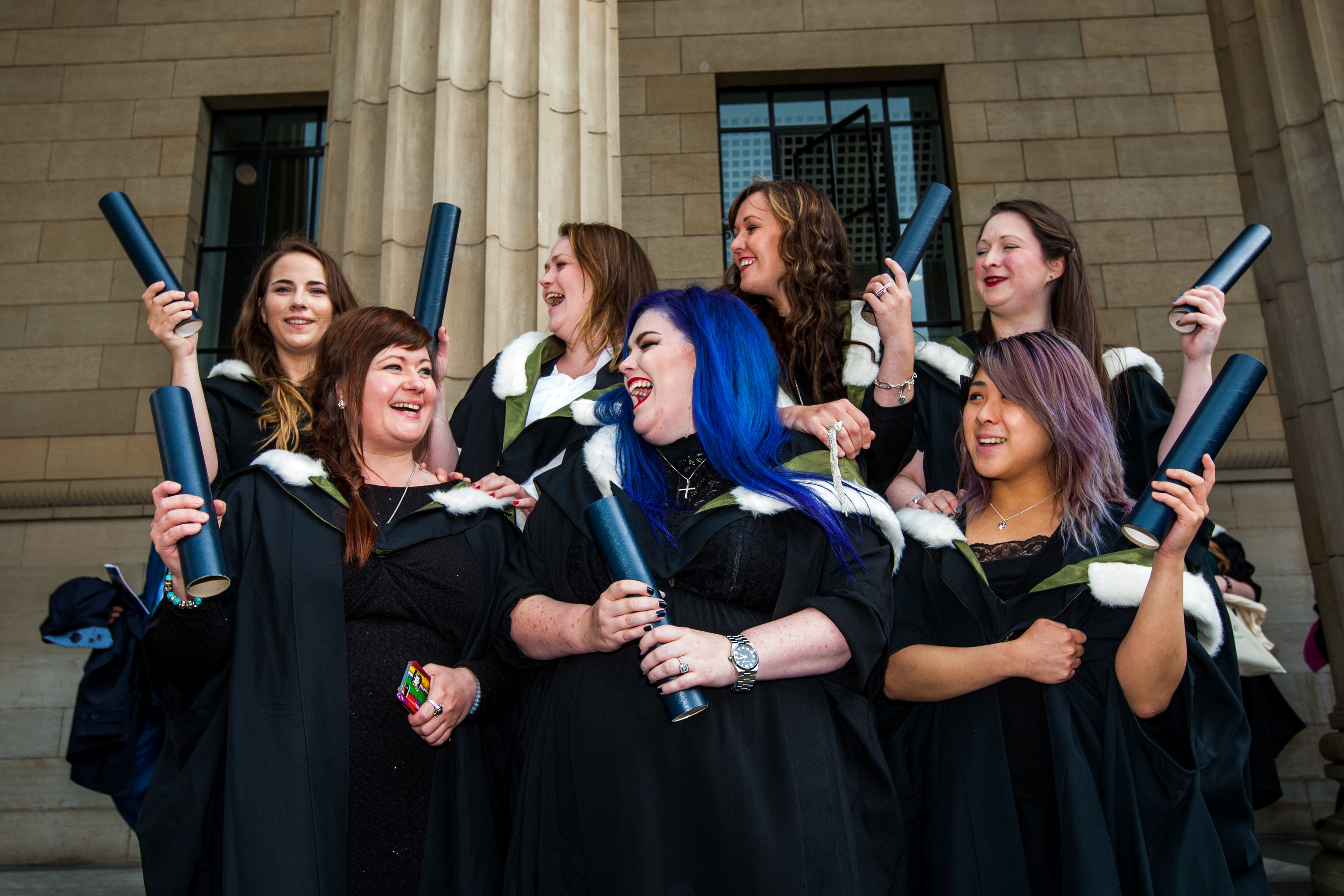 Graudates from the Jewellery Design and Technology degree - front left to right is Louise Campbell, Nikki Manning and Kathleen Lee. Back row, left to right is Laura Sykes, Julie Kelly, Romany Starrs and Sian Rushent.