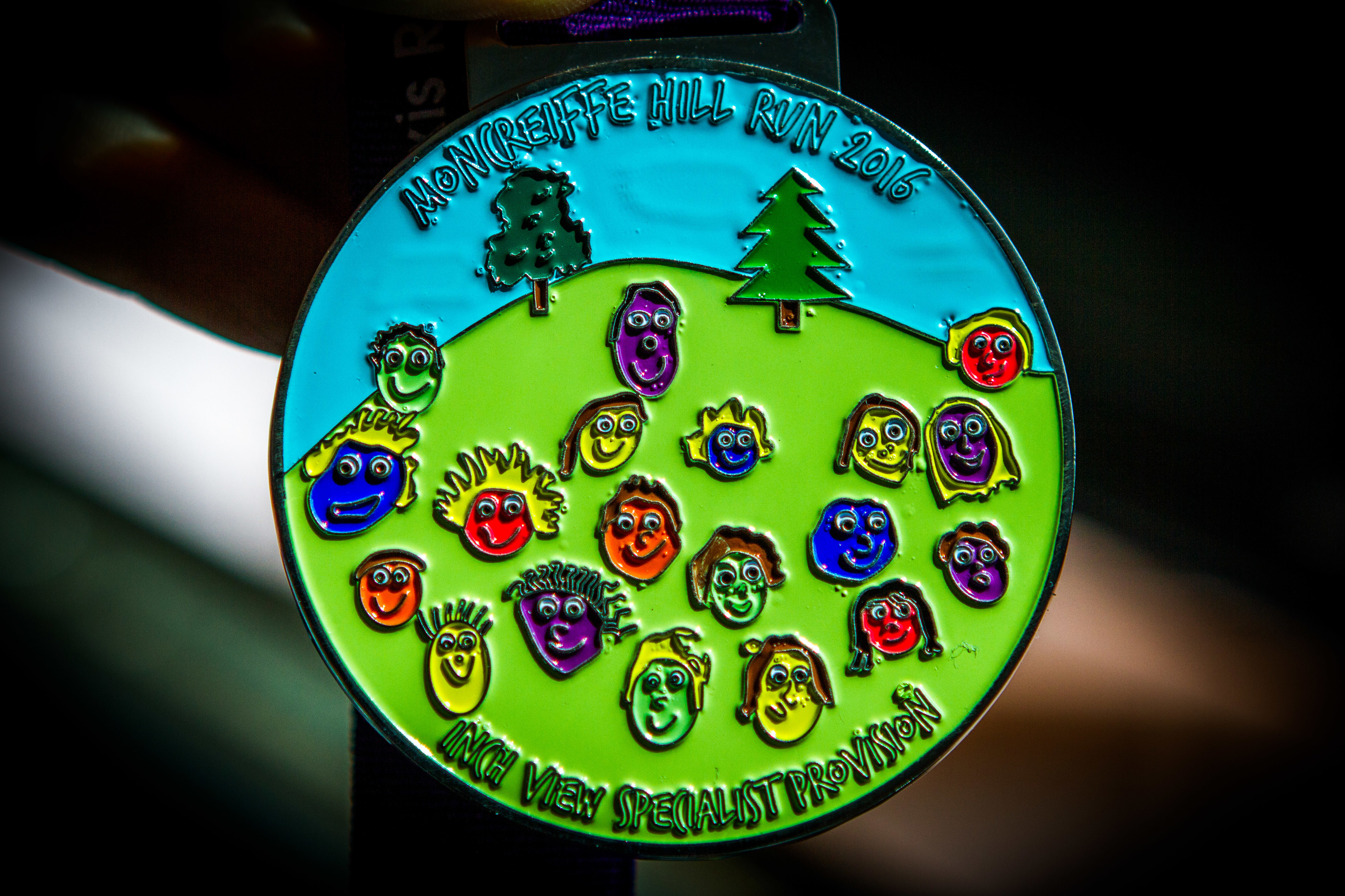 The medal designed by Inchview Primary pupils for the Alexis Rose Trail Race