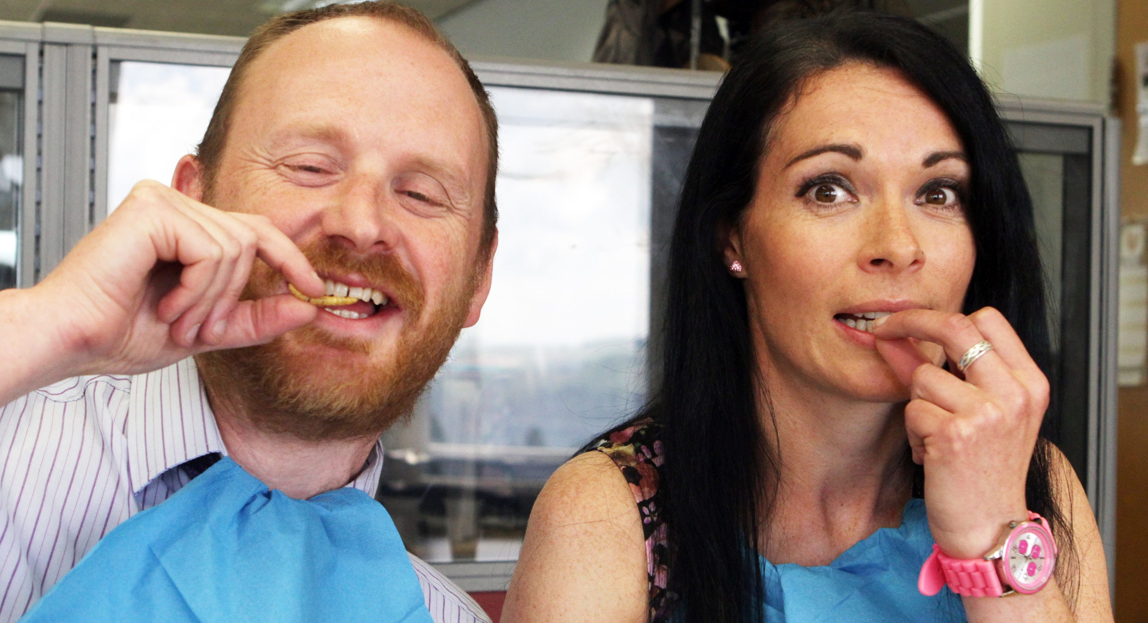 Courier news editor Alan Richardson and features writer Gayle Ritchie get stuck in to some BBQ bamboo worms!
