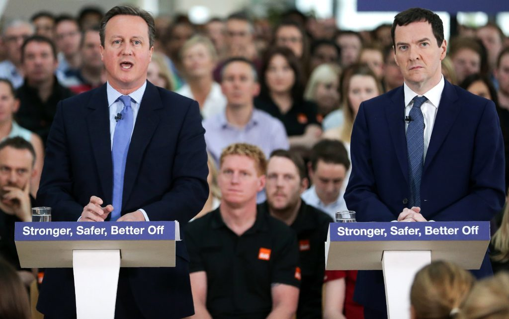 EASTLEIGH, UNITED KINGDOM - MAY 23:  Prime Minister David Cameron and Chancellor of the Exchequer George Osborne deliver a speech on the potential economic impact to the UK on leaving the European Union (EU), at a B&Q Store Support Office, on May 23, 2016 in Chandler's Ford, near Eastleigh, England. Osborne warned that Brexit would lead Britain into a 'year-long recession'.  (Photo by Daniel Leal-Olivas - WPA Pool/Getty Images)
