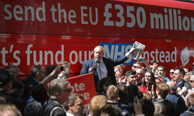 Boris Johnson MP  addresses members of the public in Parliament St, York during the Brexit Battle Bus tour of the UK on May 23, 2016