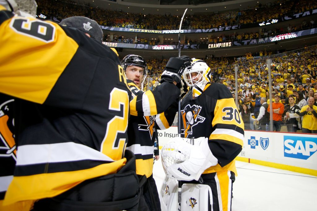 Pittsburgh Penguins  Matt Murray celebrates with his teammates.