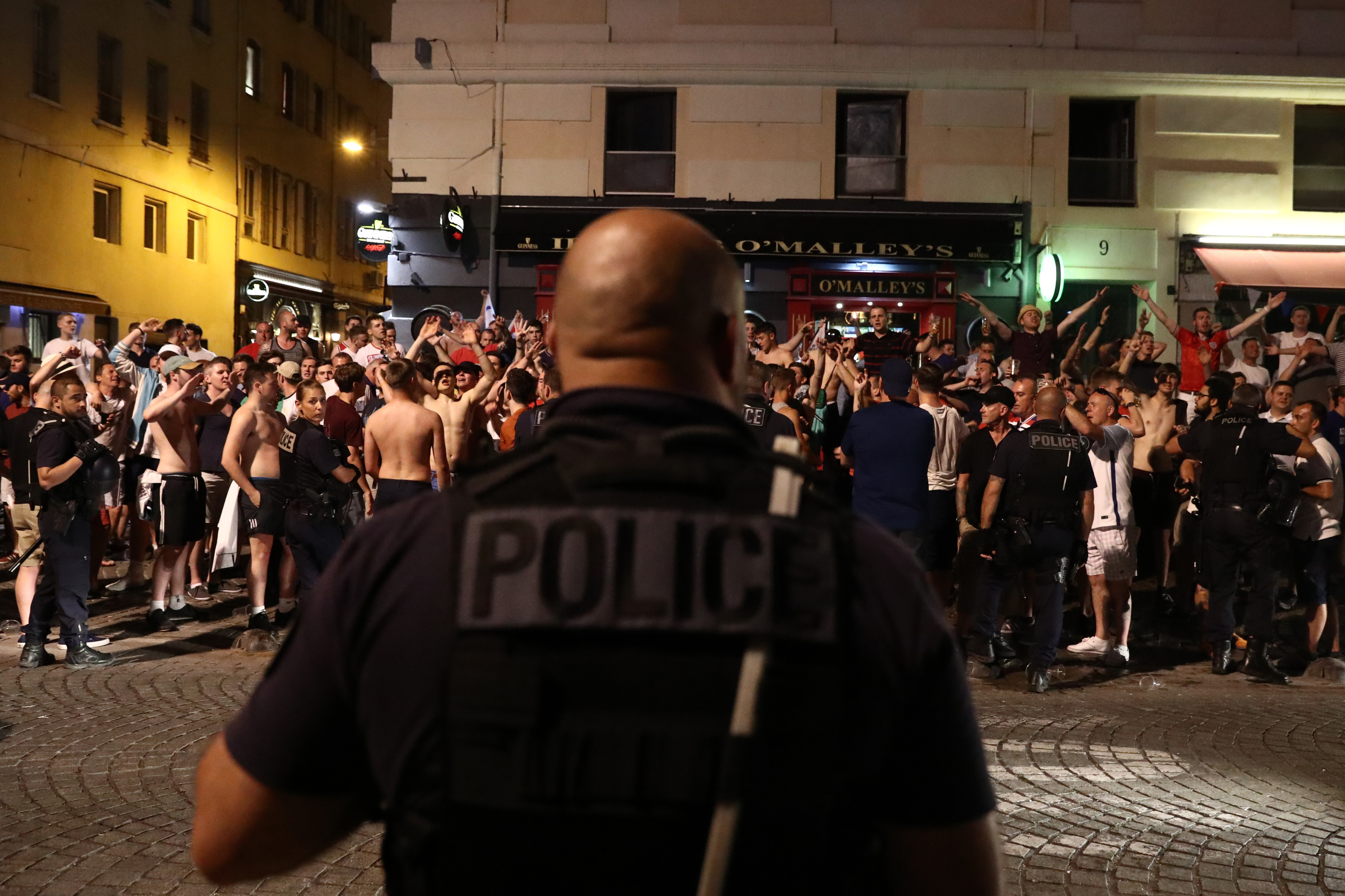 England fans chanting outside a bar in Marseille.