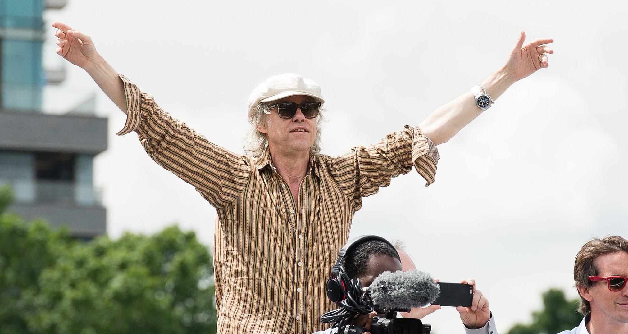 Bob Geldof gestures towards the Farage vessel.