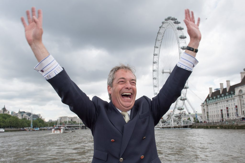 Nigel Farage was in celebratory mood as votes poured in.