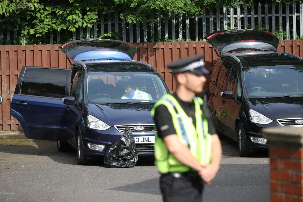 BIRSTALL, ENGLAND - JUNE 16: Police arrive at the scene of the suspect's home after Jo Cox, 41, Labour MP for Batley and Spen, was killed by an attacker at her constituicency on June 16, 2016 in Birstall, England. A man also suffered slight injuries during the attack. Jo Cox was reportedly shot and stabbed while holding her weekly surgery at Birstall Library, Birstall near Leeds and has died in hospital. A 52-year old man has been arrested in connection with the crime. (Photo by Christopher Furlong/Getty Images)