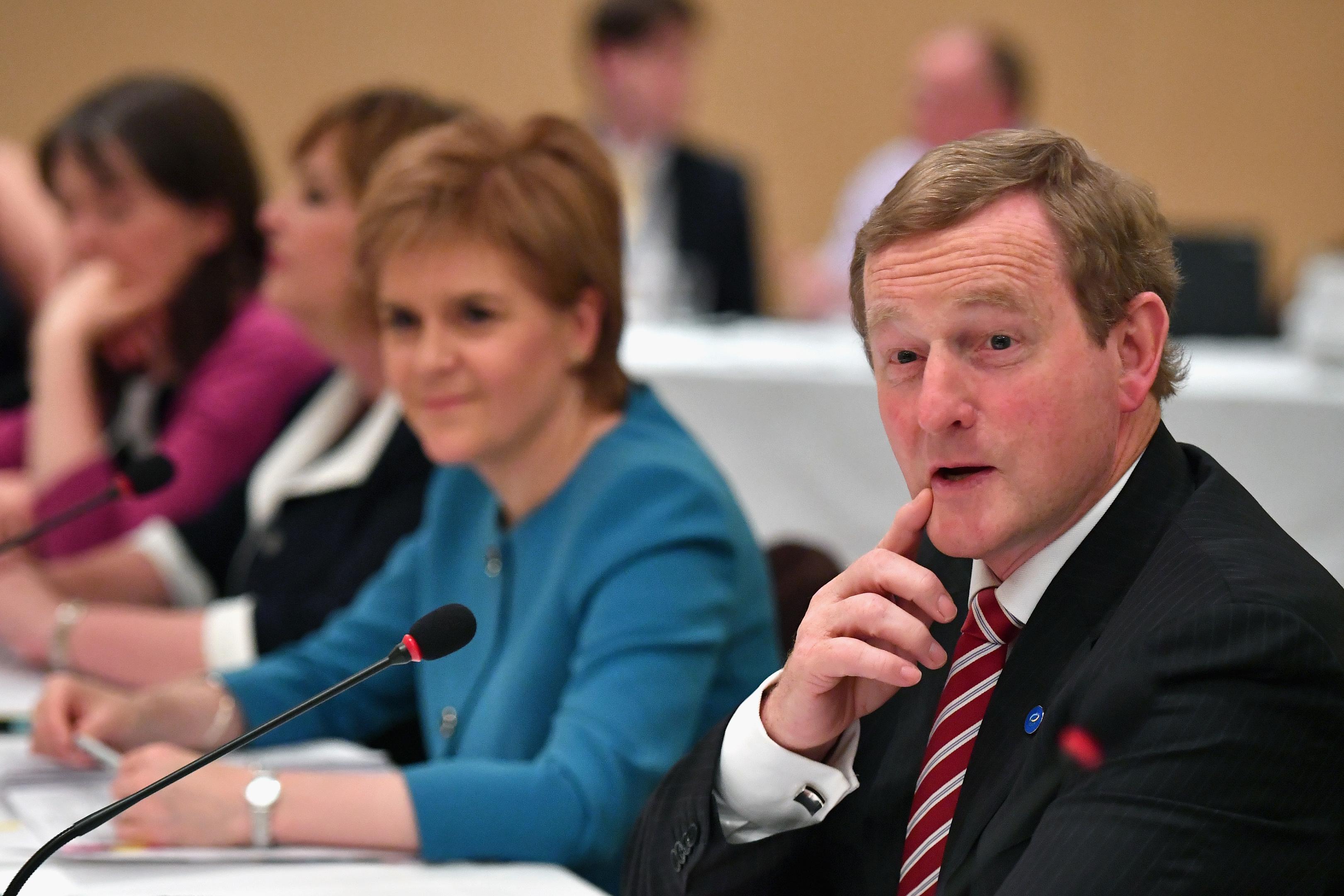 Taoiseach Enda Kenny and Nicola Sturgeon at the British-Irish council meeting in Glasgow.