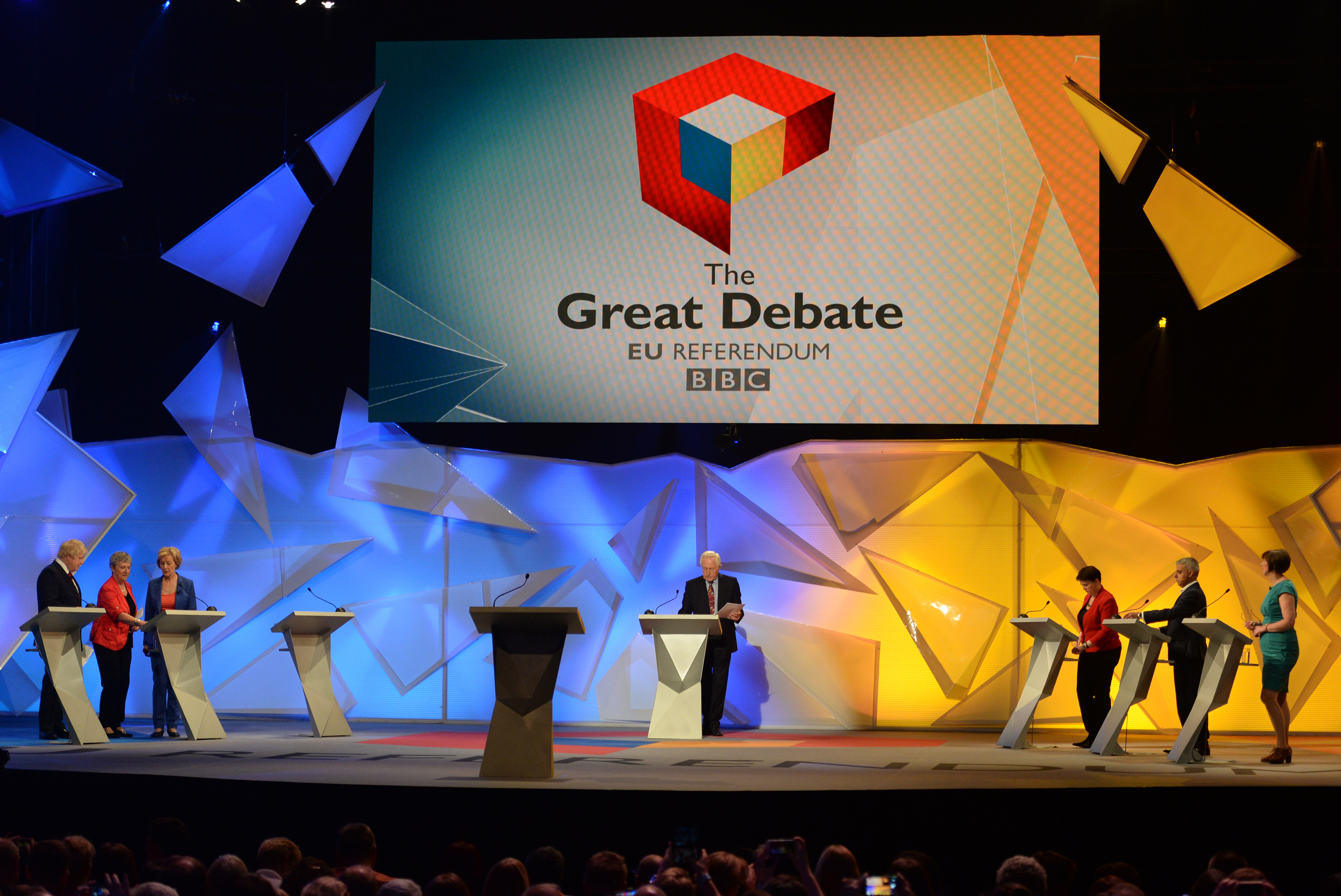From left: Boris Johnson, Gisela Stuart, Energy Minister Andrea Leadsom, David Dimbleby, Scottish Conservative leader Ruth Davidson, Mayor of London Sadiq Khan and TUC General Secretary Frances O'Grady take part in the EU debate at Wembley Arena.