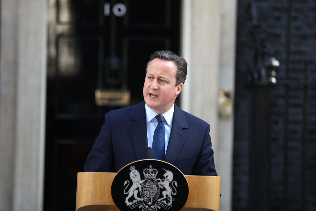 David Cameron announces his intention to resign.
