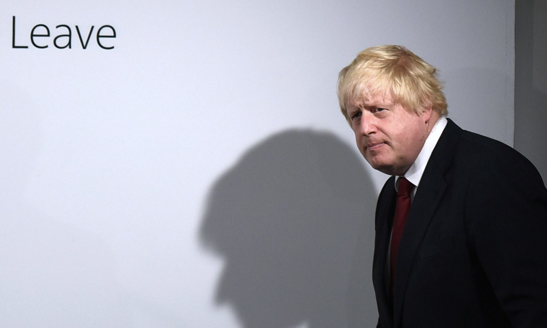 Boris Johnson arrives for what turned out to be a very low-key victory speech.