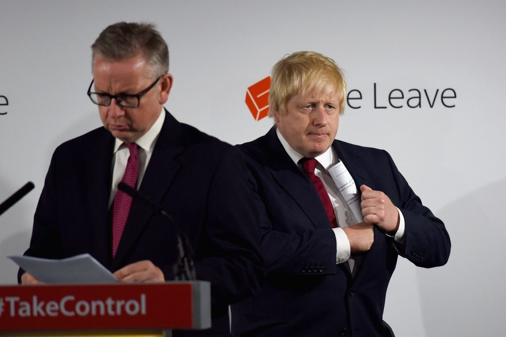 Boris Johnson looks tense as the enormity of what he and Michael Gove have sparked starts to set in.