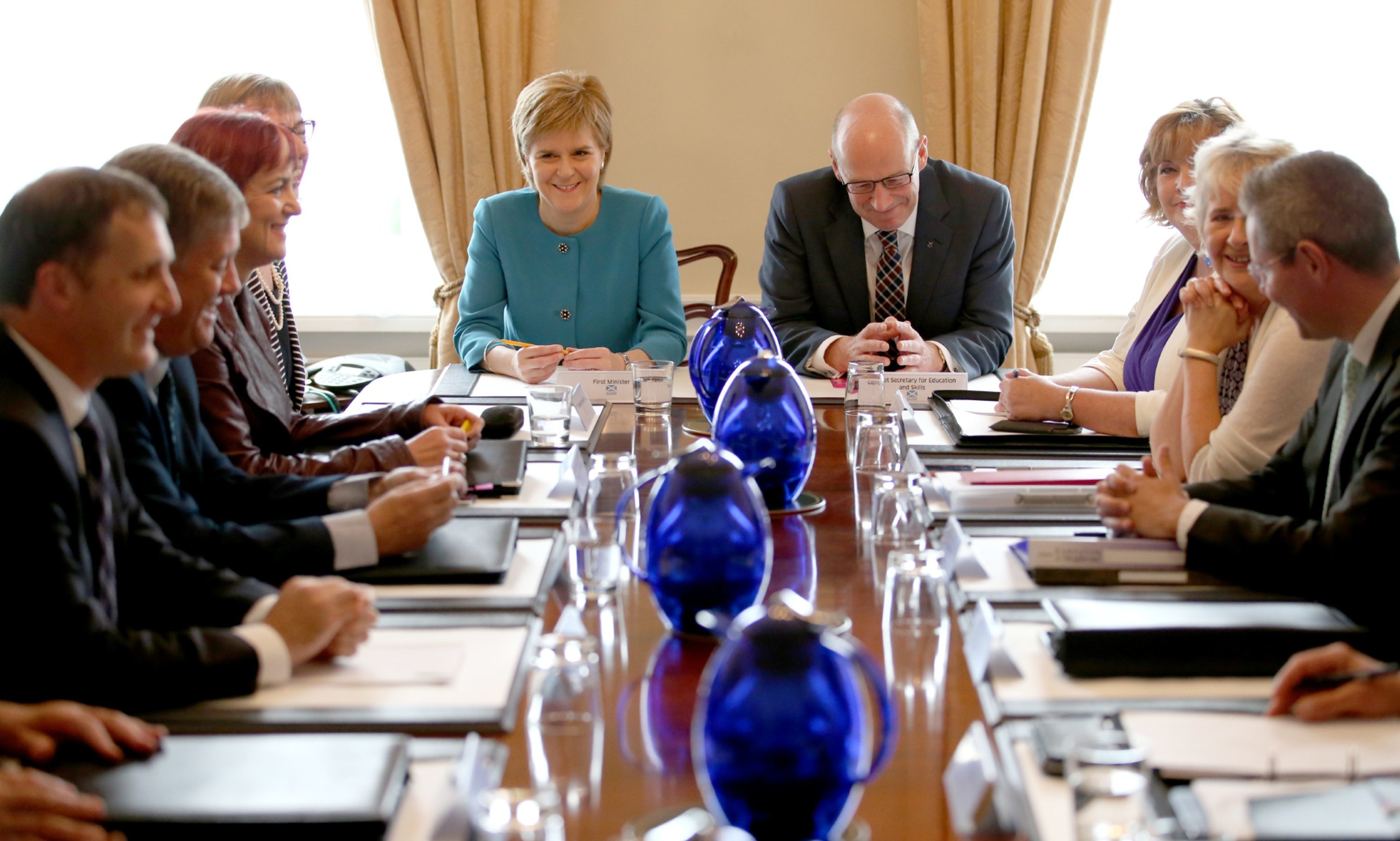 First Minister Nicola Sturgeon and Deputy First Minister John Swinney attend an emergency cabinet meeting at Bute House.