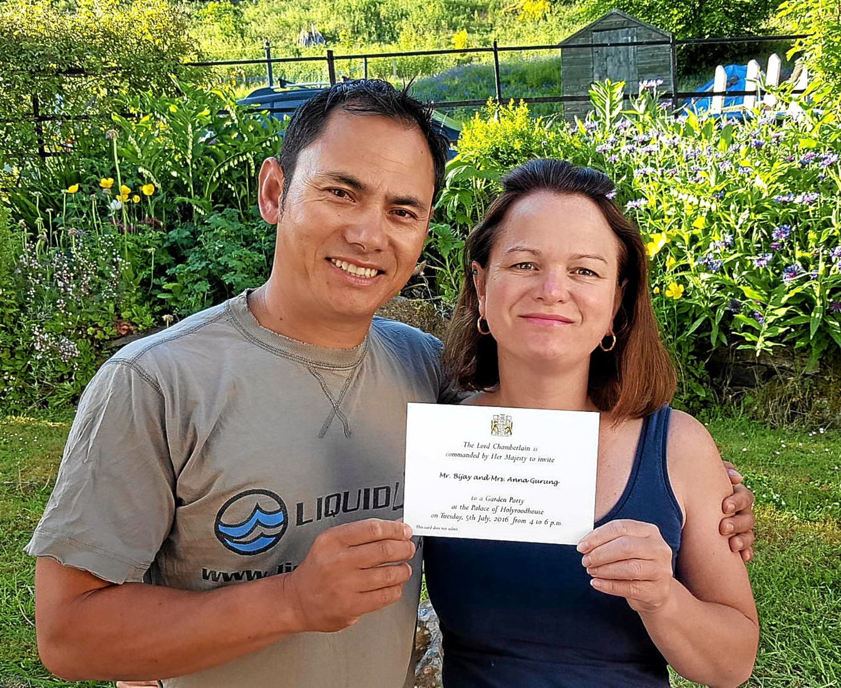 Anna and Sanu Gurung have received an official invitation to the Queens Royal Garden Party in Edinburgh next month.