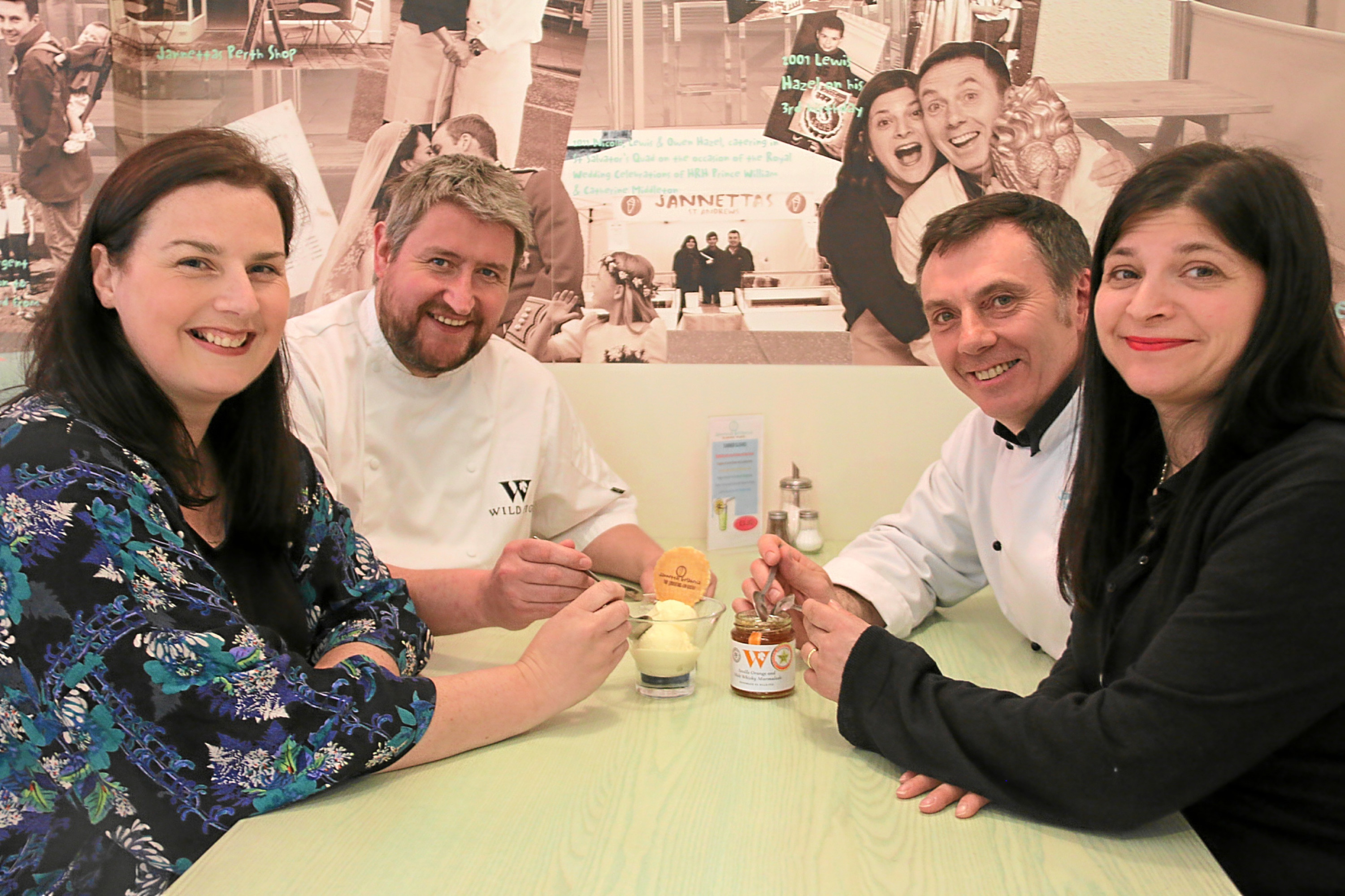 From left Wild Fig owners Nicola Maule and Justin Maule and Owen Hazel and Nicola Hazel, of Janettas Gelateria.